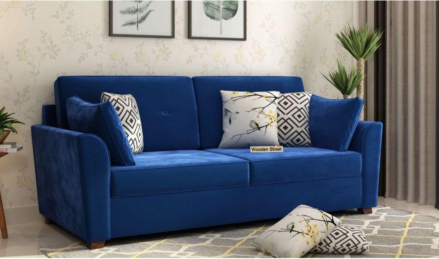 Archerd 3 Seater Sofa (Velvet, Indigo Blue)-1