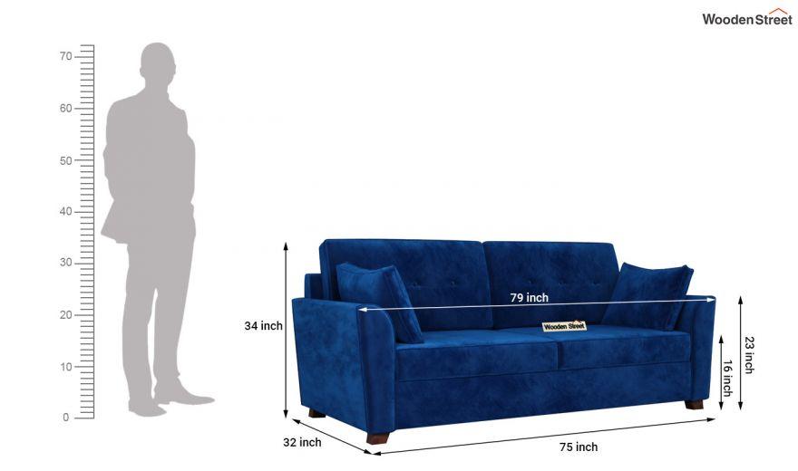 Archerd 3 Seater Sofa (Velvet, Indigo Blue)-14