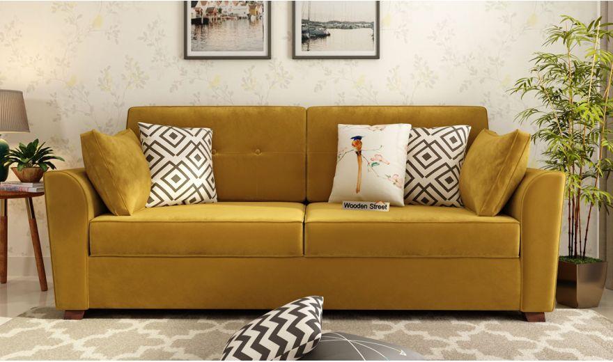 Archerd 3 Seater Sofa (Velvet, Chestnut Brown)-2
