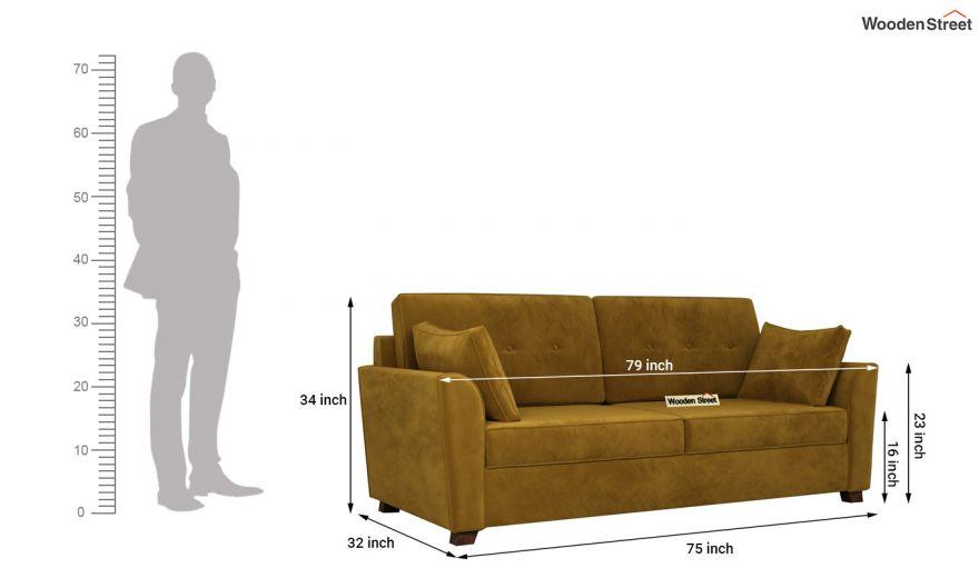 Archerd 3 Seater Sofa (Velvet, Chestnut Brown)-14