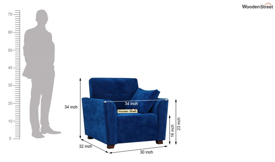 Archerd 3 Seater Sofa (Velvet, Indigo Blue)-12