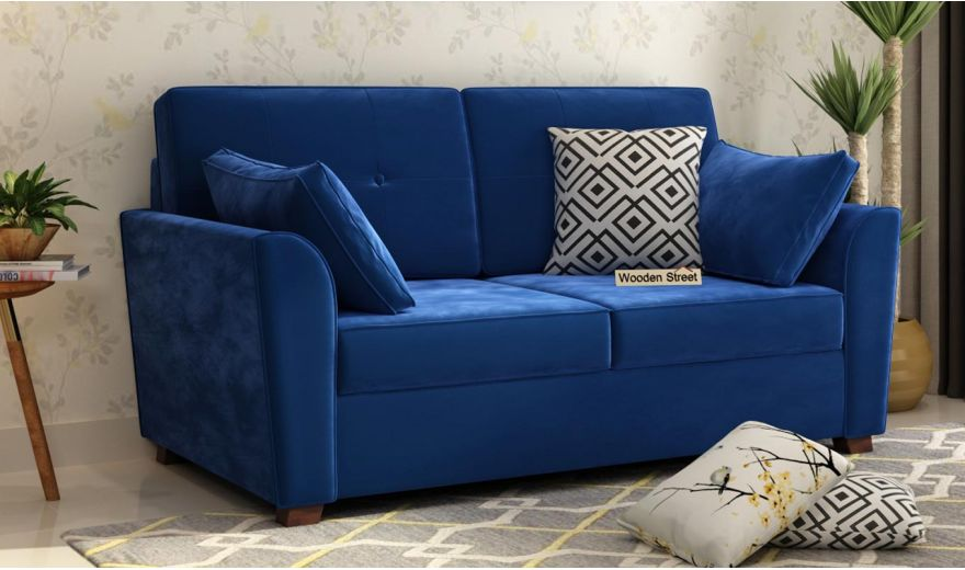 Archerd 3 Seater Sofa (Velvet, Indigo Blue)-9