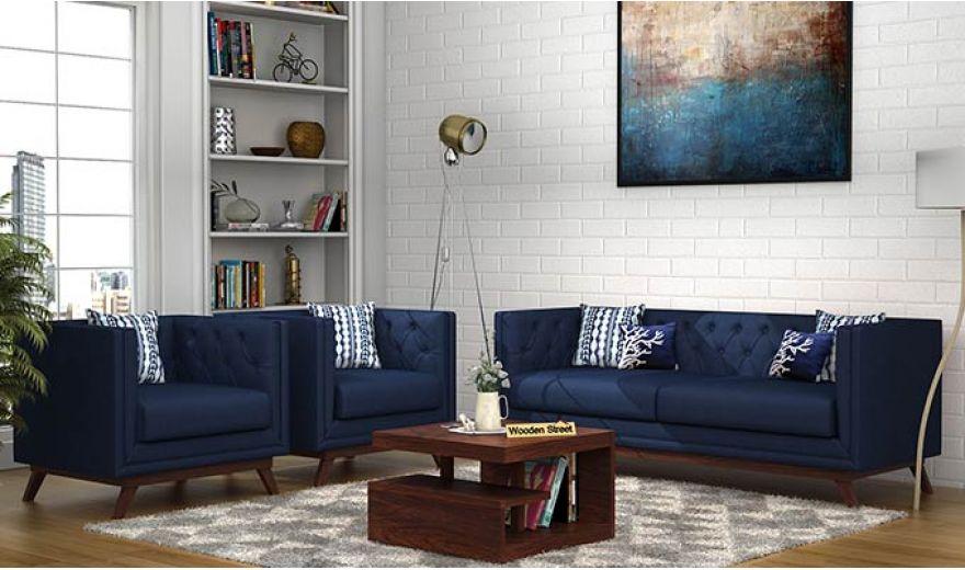 Berlin 3 Seater Sofa (Cotton, Indigo Ink)-12