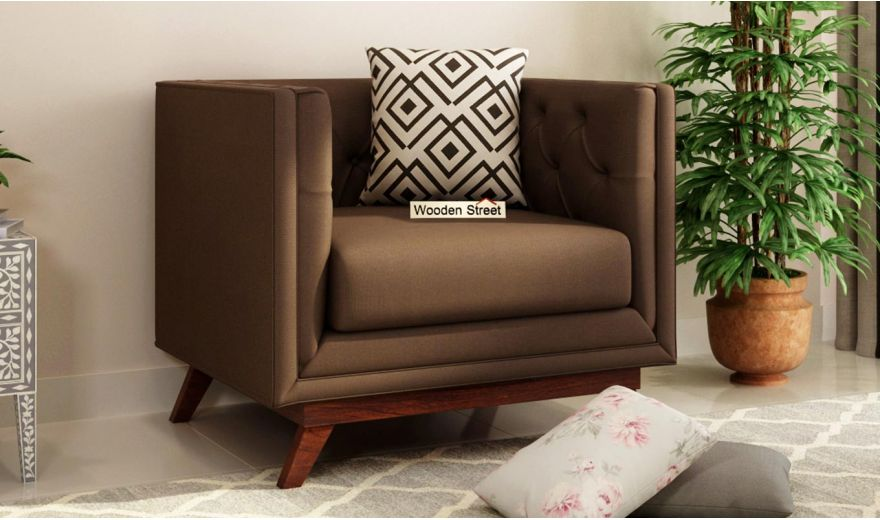 Berlin 2 Seater Sofa (Fabric, Classic Brown)-5