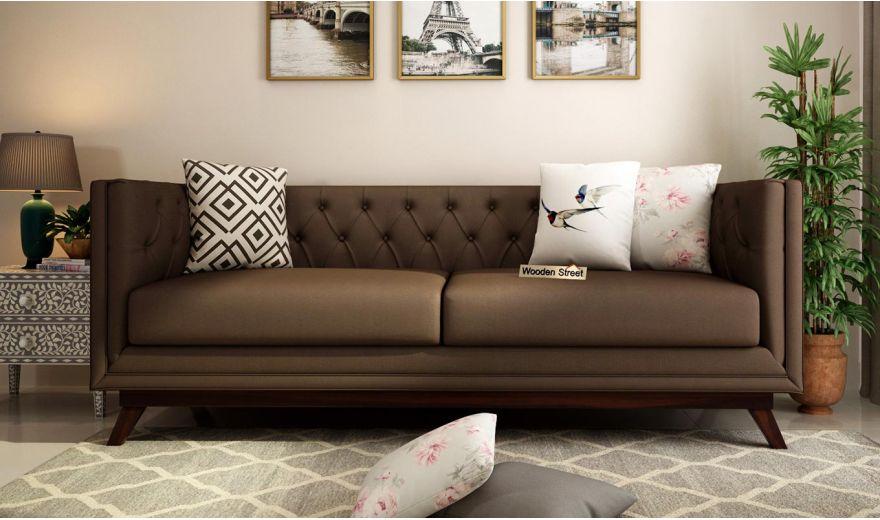 Berlin 2 Seater Sofa (Fabric, Classic Brown)-8