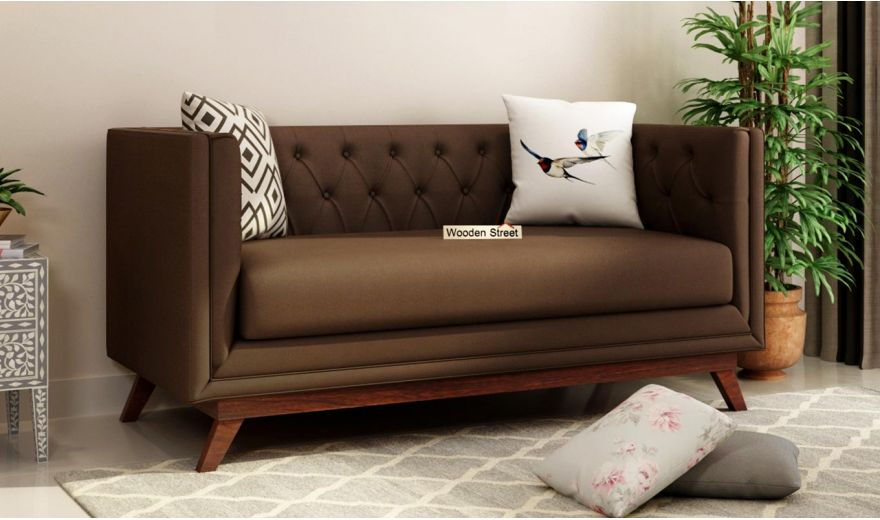 Berlin 2 Seater Sofa (Fabric, Classic Brown)-1