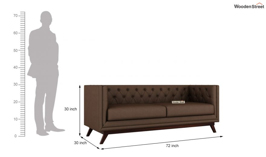 Berlin 2 Seater Sofa (Fabric, Classic Brown)-11