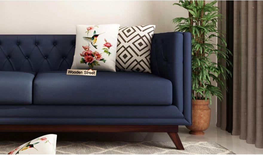 Berlin 3 Seater Sofa (Cotton, Indigo Ink)-3