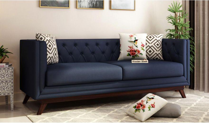 Berlin 3 Seater Sofa (Cotton, Indigo Ink)-1