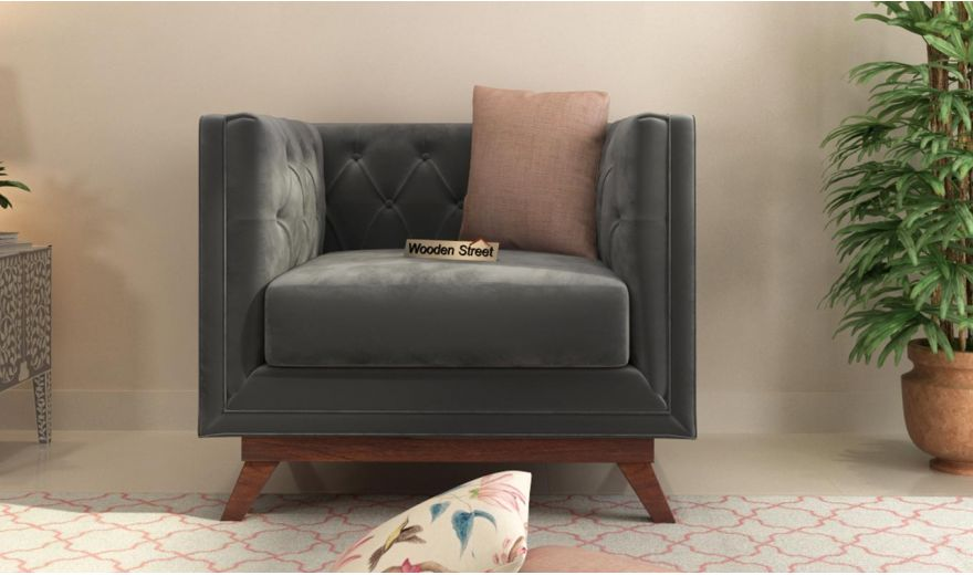 Berlin 3 Seater Sofa (Velvet, Graphite Grey)-9