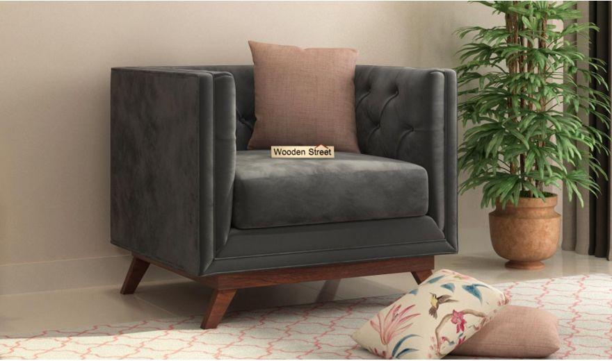 Berlin 3 Seater Sofa (Velvet, Graphite Grey)-8