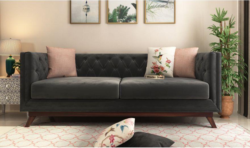 Berlin 3 Seater Sofa (Velvet, Graphite Grey)-2