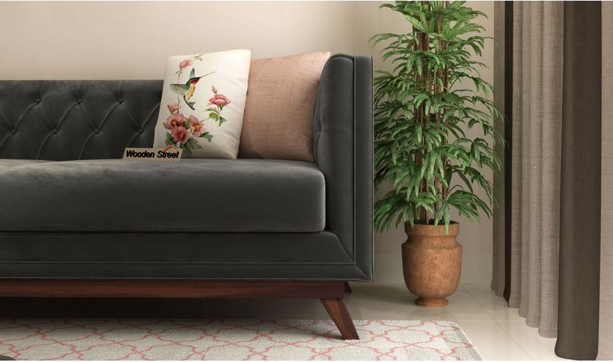 Berlin 3 Seater Sofa (Velvet, Graphite Grey)-3