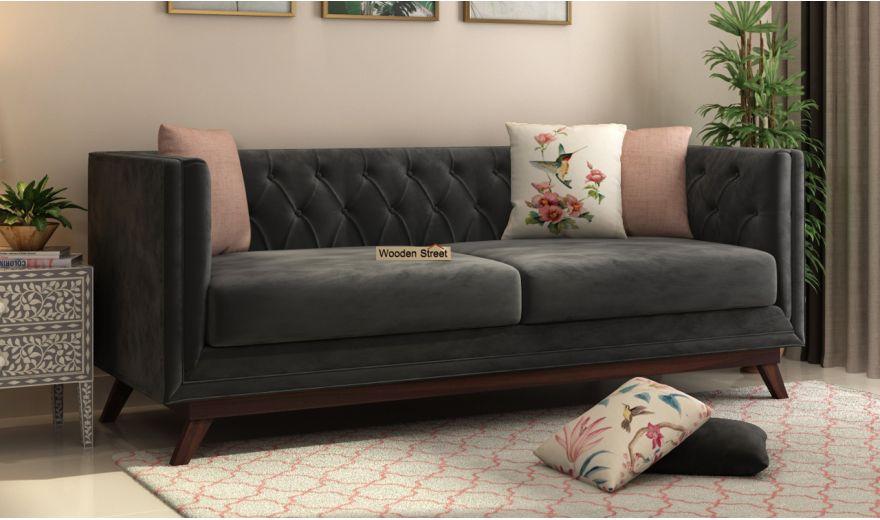 Berlin 3 Seater Sofa (Velvet, Graphite Grey)-1