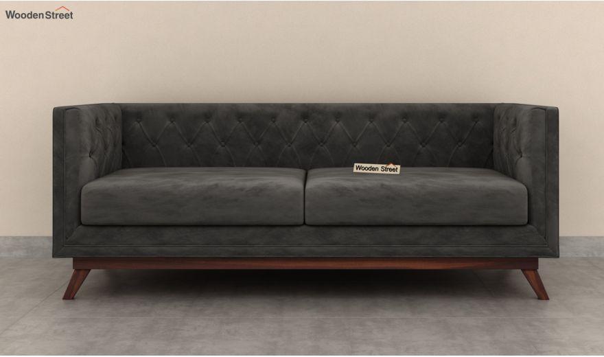 Berlin 3 Seater Sofa (Velvet, Graphite Grey)-5