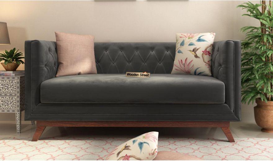 Berlin 3 Seater Sofa (Velvet, Graphite Grey)-10