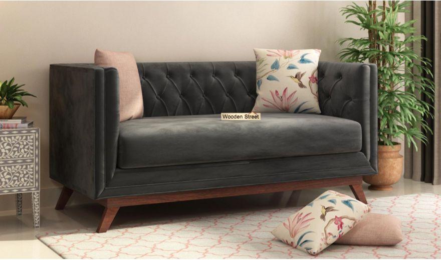 Berlin 3 Seater Sofa (Velvet, Graphite Grey)-11