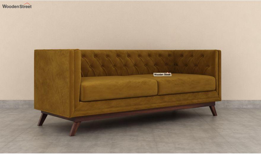 Berlin 3 Seater Sofa (Velvet, Chestnut Brown)-4