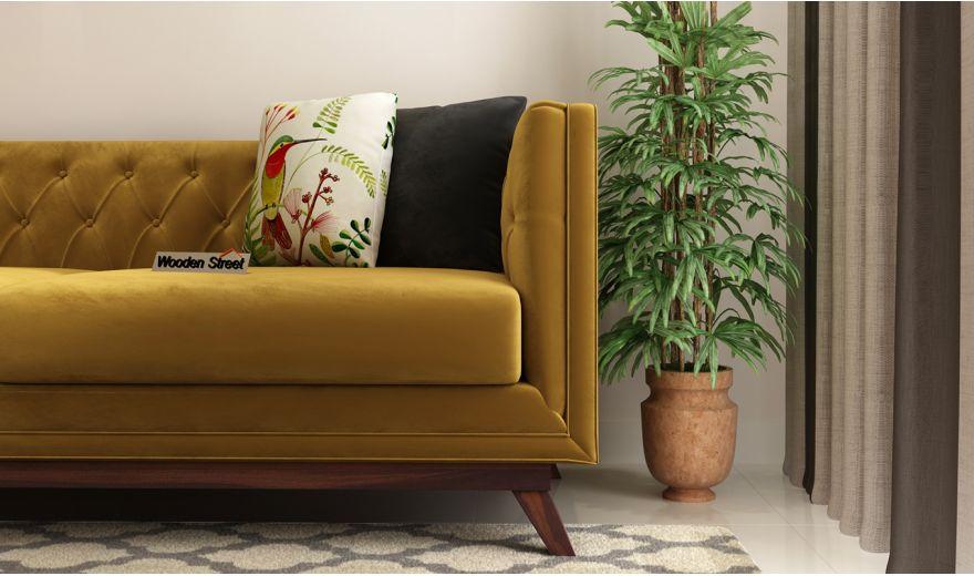 Berlin 3 Seater Sofa (Velvet, Chestnut Brown)-3