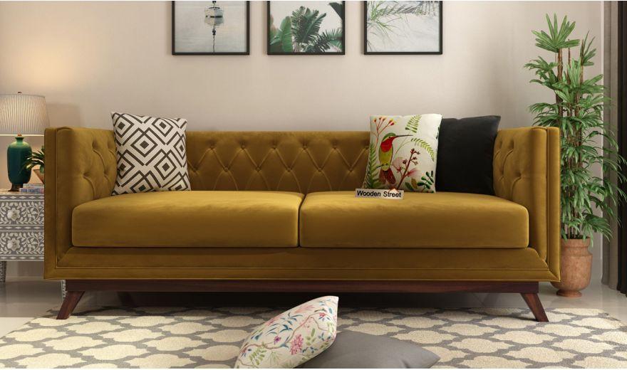 Berlin 3 Seater Sofa (Velvet, Chestnut Brown)-2