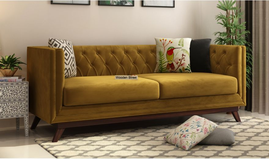 Berlin 3 Seater Sofa (Velvet, Chestnut Brown)-1