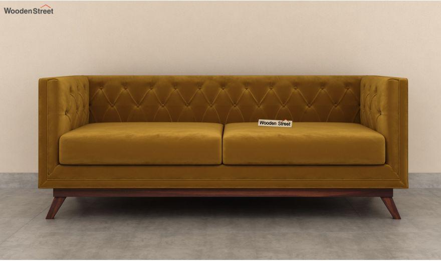 Berlin 3 Seater Sofa (Velvet, Chestnut Brown)-5