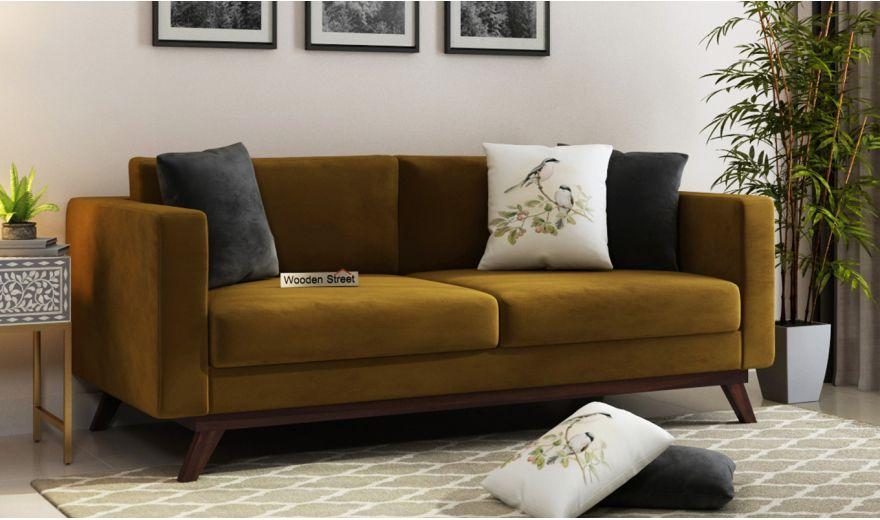 Casper 2 Seater Sofa (Velvet, Chestnut Brown)-7