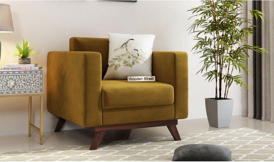 Casper 2 Seater Sofa (Velvet, Chestnut Brown)-5