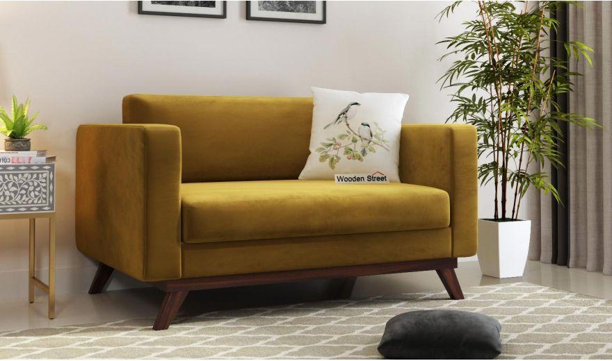 Casper 2 Seater Sofa (Velvet, Chestnut Brown)-1