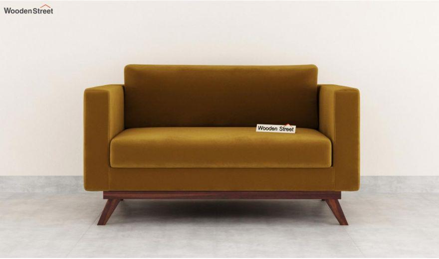 Casper 2 Seater Sofa (Velvet, Chestnut Brown)-3