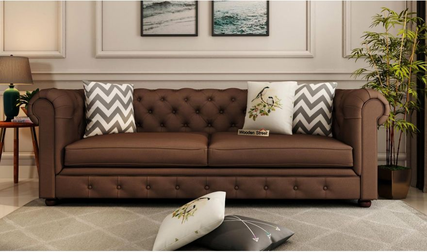 Henry 2 Seater Sofa (Fabric, Classic Brown)-8