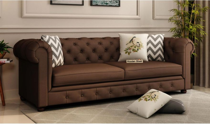 Henry 2 Seater Sofa (Fabric, Classic Brown)-7