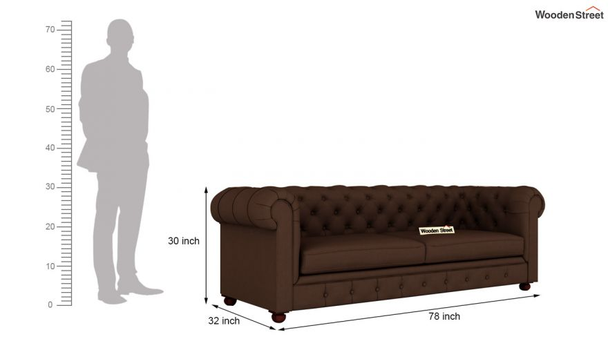Henry 2 Seater Sofa (Fabric, Classic Brown)-11
