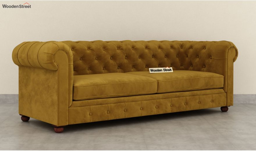 Henry 3 Seater Sofa (Velvet, Chestnut Brown)-4