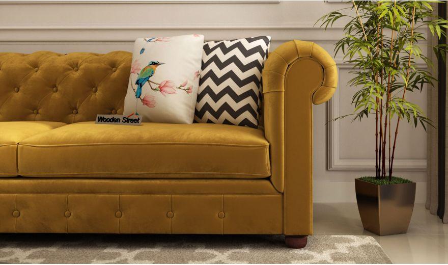 Henry 3 Seater Sofa (Velvet, Chestnut Brown)-3