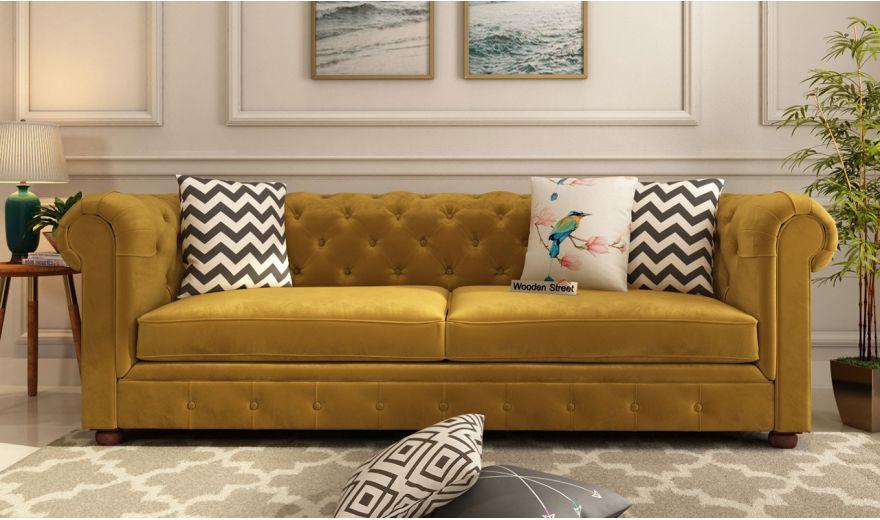 Henry 3 Seater Sofa (Velvet, Chestnut Brown)-2