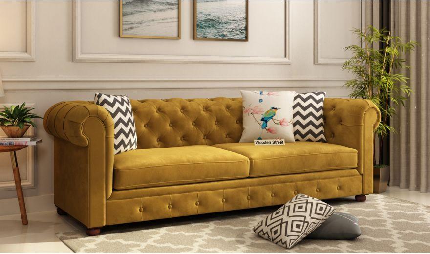 Henry 3 Seater Sofa (Velvet, Chestnut Brown)-1
