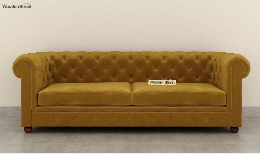 Henry 3 Seater Sofa (Velvet, Chestnut Brown)-5