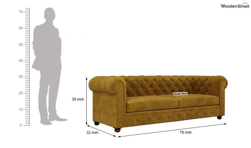 Henry 3 Seater Sofa (Velvet, Chestnut Brown)-14
