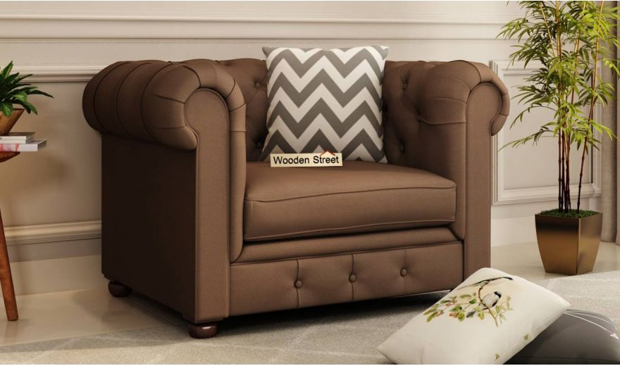 Henry 2 Seater Sofa (Fabric, Classic Brown)-5