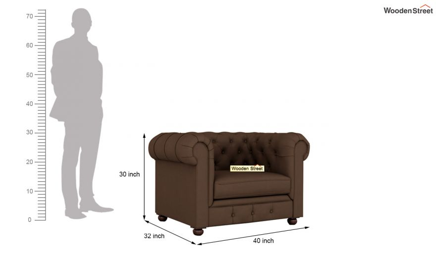 Henry 2 Seater Sofa (Fabric, Classic Brown)-9