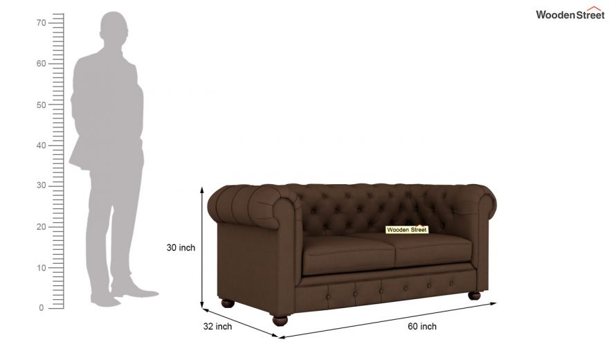 Henry 2 Seater Sofa (Fabric, Classic Brown)-10