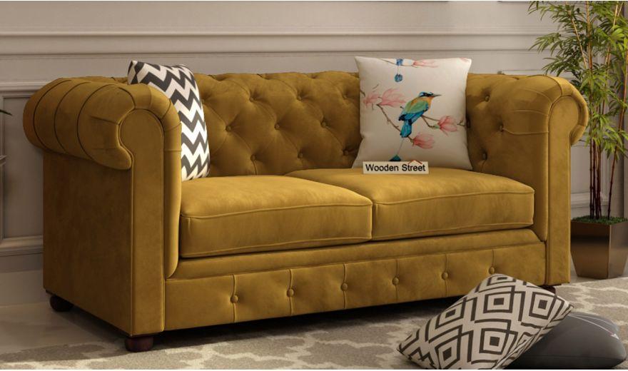 Henry 3 Seater Sofa (Velvet, Chestnut Brown)-10