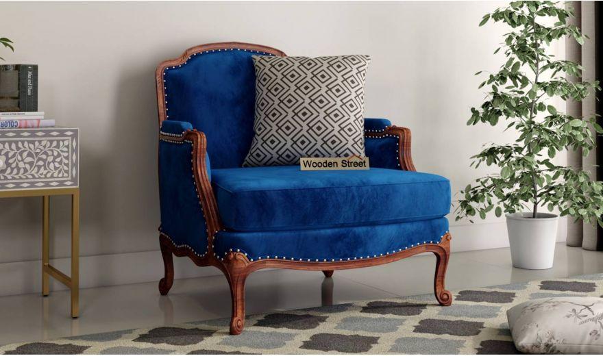 Margret 3 Seater Sofa (Velvet, Indigo Blue)-5
