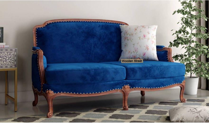 Margret 2 Seater Sofa (Velvet, Indigo Blue)-1