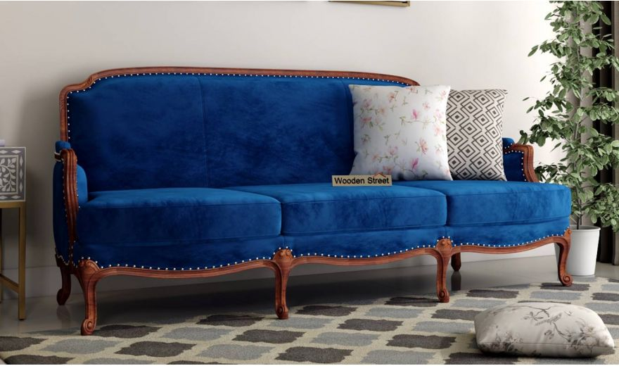 Margret 3 Seater Sofa (Velvet, Indigo Blue)-1