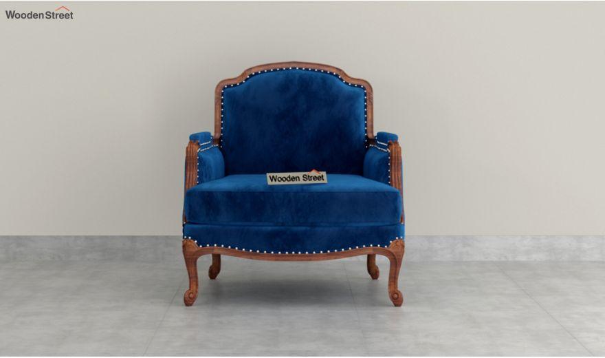 Margret 3 Seater Sofa (Velvet, Indigo Blue)-6