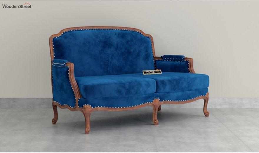 Margret 2 Seater Sofa (Velvet, Indigo Blue)-2