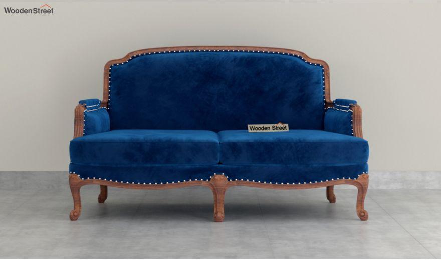 Margret 2 Seater Sofa (Velvet, Indigo Blue)-3