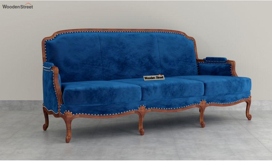 Margret 3 Seater Sofa (Velvet, Indigo Blue)-2